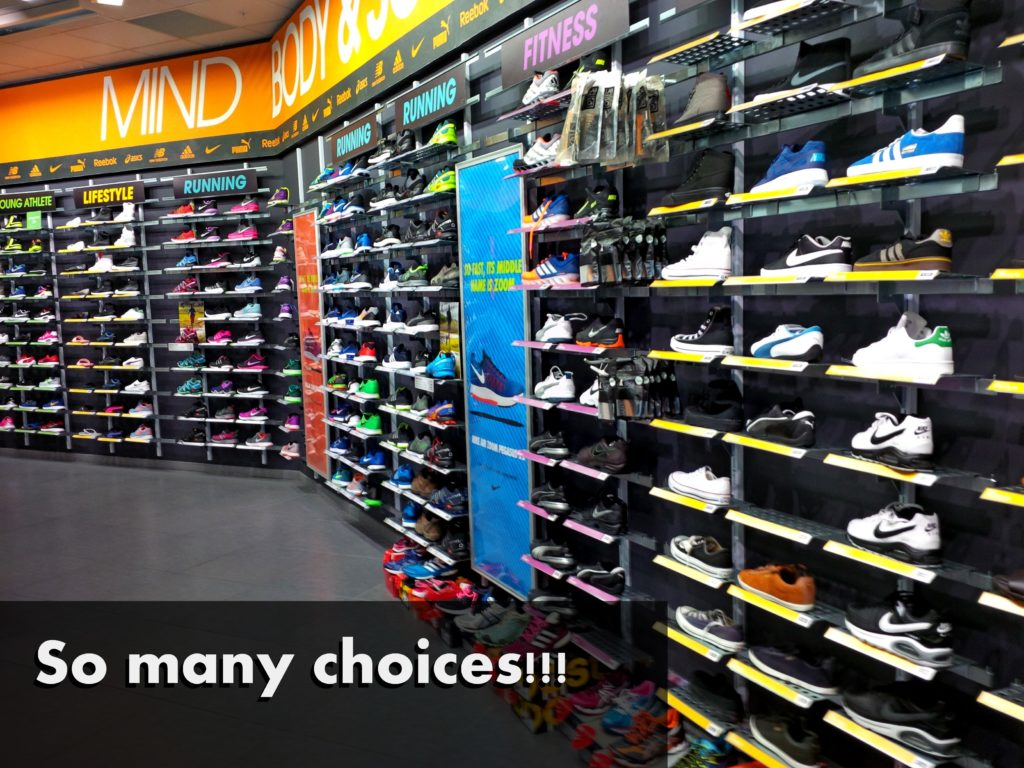 A colorful shoe store
