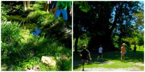 children running through a treed garden on a treasure hunt