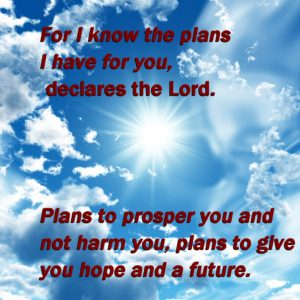sun shining through the clouds and a scripture about hope and future