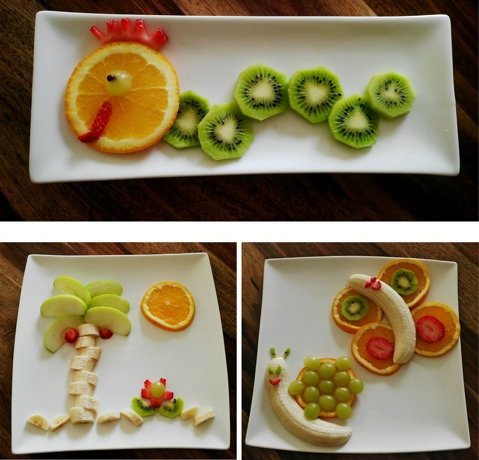 fruit art, beach island, butterfly and snail, wiggly worm