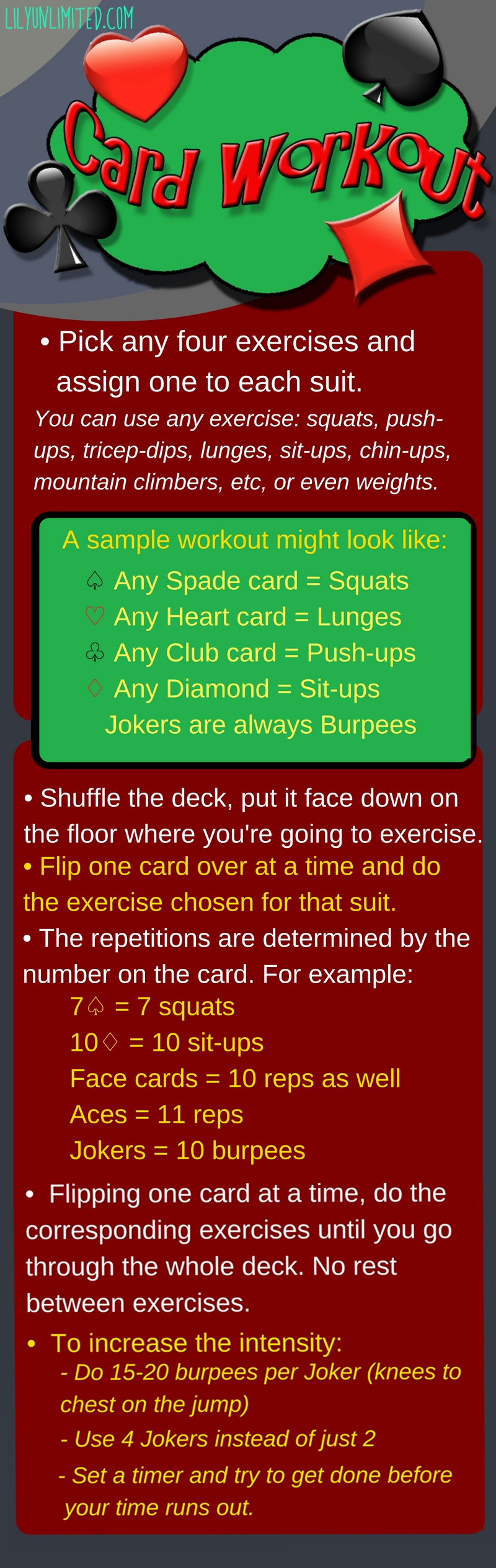 deck of cards workout infograph