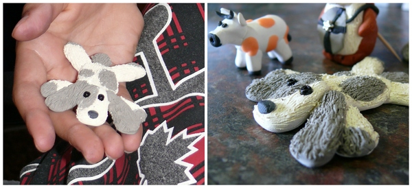 a dog and cow made from clay